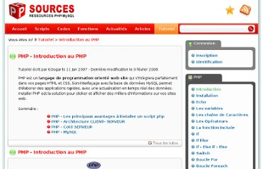 http://www.phpsources.org/tutoriel-introduction.htm
