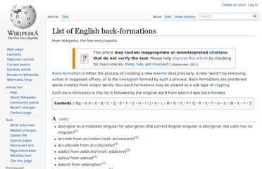 http://en.wikipedia.org/wiki/List_of_English_back-formations
