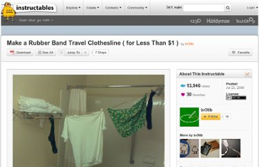 http://www.instructables.com/id/Make-a-Rubber-Band-Travel-Clothesline-for-Less-T/