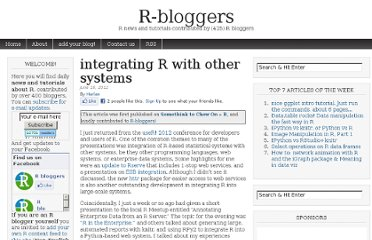 http://www.r-bloggers.com/integrating-r-with-other-systems/