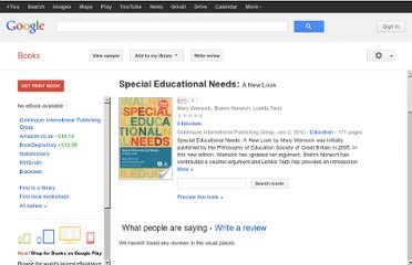 http://books.google.co.uk/books/about/Special_Educational_Needs.html?id=T6tHoTSw554C#v=onepage&q=Special%20Educational%20Needs%3A%20Assessment%20And%20Funding&f=false