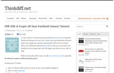 http://thinkdiff.net/facebook/php-sdk-graph-api-base-facebook-connect-tutorial/