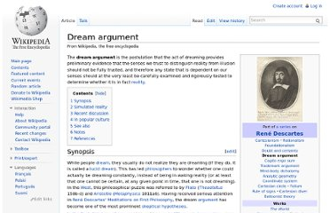 http://en.wikipedia.org/wiki/Dream_argument