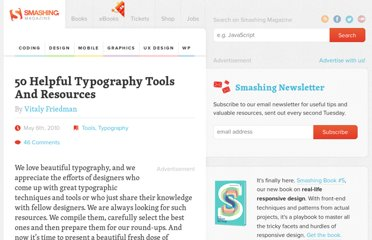 http://www.smashingmagazine.com/2010/05/06/50-helpful-typography-tools-and-resources/