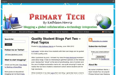 http://primarytech.global2.vic.edu.au/2012/06/19/quality-student-blogs-part-two-post-topics/