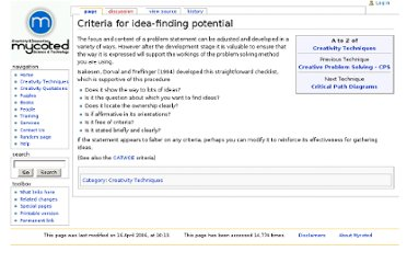 http://www.mycoted.com/Criteria_for_idea-finding_potential