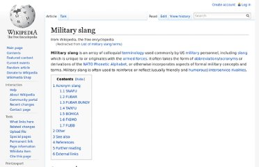 wiki Appendix:Glossary of military slang