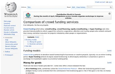 http://en.wikipedia.org/wiki/Comparison_of_crowd_funding_services