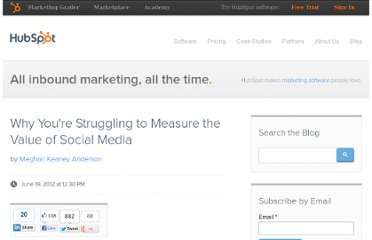 http://blog.hubspot.com/blog/tabid/6307/bid/33300/Why-You-re-Struggling-to-Measure-the-Value-of-Social-Media.aspx
