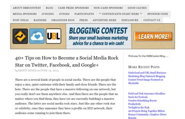 http://smbcontest.com/40-tips-on-how-to-become-a-social-media-rockstar-on-twitter-facebook-and-google/