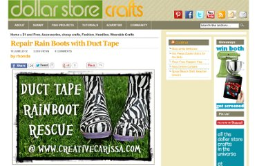 http://dollarstorecrafts.com/2012/06/repair-rain-boots-with-duct-tape/