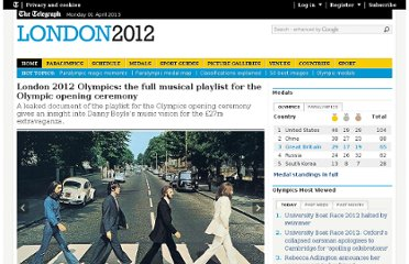 http://www.telegraph.co.uk/sport/olympics/9341231/London-2012-Olympics-the-full-musical-playlist-for-the-Olympic-opening-ceremony.html