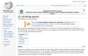 http://en.wikipedia.org/wiki/21_(drinking_game)#Variations