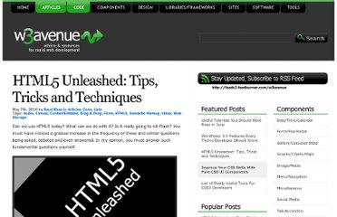 http://www.w3avenue.com/2010/05/07/html5-unleashed-tips-tricks-and-techniques/