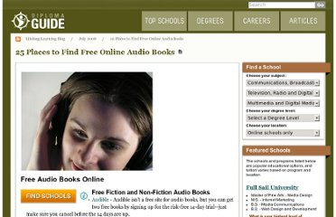 http://diplomaguide.com/articles/25_Places_to_Find_Free_Online_Audio_Books.html