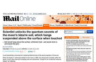 http://www.dailymail.co.uk/sciencetech/article-2161980/Scientist-unlocks-quantum-secrets-moons-bizarre-soil-hangs-suspended-surface-touched.html
