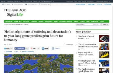 http://www.theage.com.au/digital-life/games/hellish-nightmare-of-suffering-and-devastation-10yearlong-game-predicts-grim-future-for-humanity-20120613-208xq.html