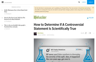 http://lifehacker.com/5919830/how-to-determine-if-a-controversial-statement-is-scientifically-true