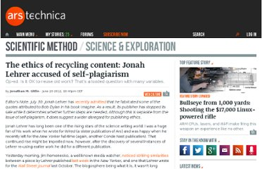 http://arstechnica.com/science/2012/06/the-ethics-of-recycling-content-jonah-lehrer-accused-of-self-plagiarism/