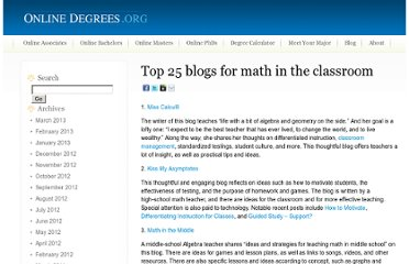 http://www.onlinedegrees.org/top-25-blogs-for-math-in-the-classroom/