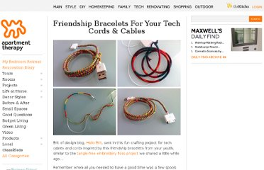 http://www.apartmenttherapy.com/friendship-bracelets-for-your-tech-cords-cables-166534