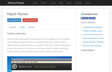 http://www.novirusthanks.org/product/hijack-hunter/