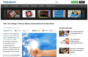 http://edudemic.com/2012/06/the-10-things-i-know-about-innovation-in-education/