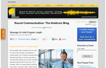 http://soundcommunication.holdcom.com/bid/72031/Message-On-Hold-Program-Length