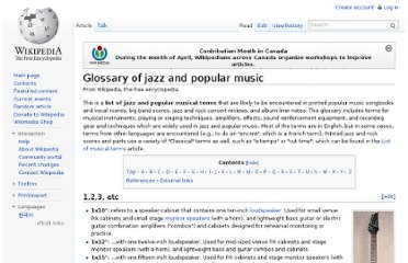 http://en.wikipedia.org/wiki/Glossary_of_jazz_and_popular_music