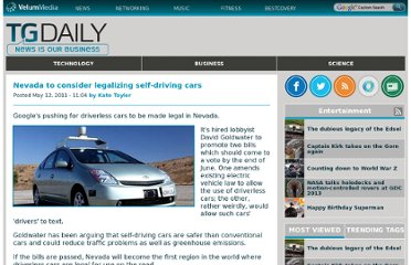 http://www.tgdaily.com/business-and-law-features/55899-nevada-to-consider-legalizing-self-driving-cars