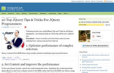 http://viralpatel.net/blogs/20-top-jquery-tips-tricks-for-jquery-programmers/