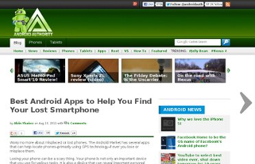 http://www.androidauthority.com/best-android-apps-to-help-you-find-your-lost-smartphone-22195/