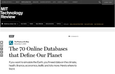 http://www.technologyreview.com/view/421886/the-70-online-databases-that-define-our-planet/