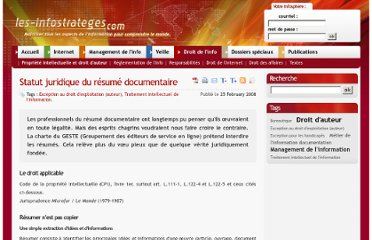 http://www.les-infostrateges.com/article/0802302/statut-juridique-du-resume-documentaire