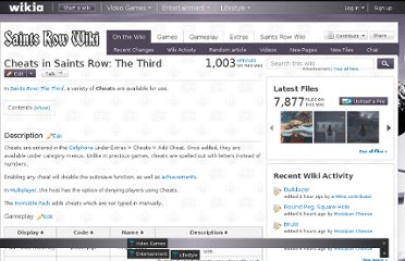 http://saintsrow.wikia.com/wiki/Cheats_in_Saints_Row:_The_Third