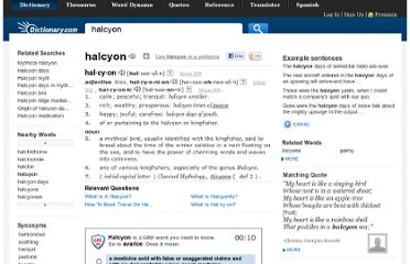 http://dictionary.reference.com/browse/halcyon