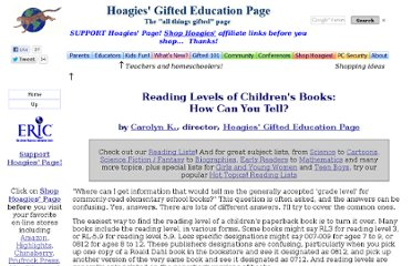 http://www.hoagiesgifted.org/reading_levels.htm