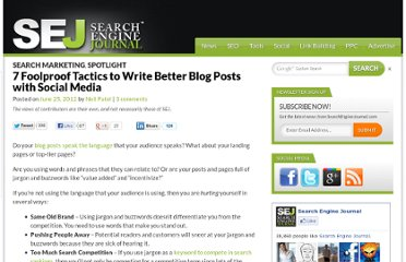http://www.searchenginejournal.com/7-foolproof-tactics-to-write-better-blog-posts-with-social-media/45263/