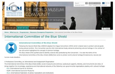 http://icom.museum/programmes/museums-emergency-programme/international-committee-of-the-blue-shield/
