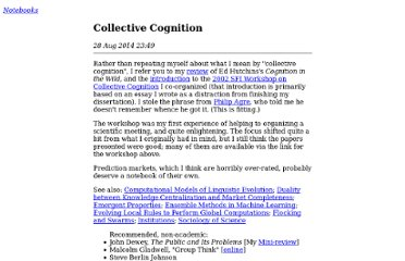 http://cscs.umich.edu/~crshalizi/notebooks/collective-cognition.html