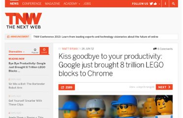 http://thenextweb.com/shareables/2012/06/26/kiss-goodbye-to-your-productivity-google-just-brought-8-trillion-lego-blocks-to-chrome/