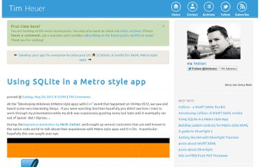 http://timheuer.com/blog/archive/2012/05/20/using-sqlite-in-metro-style-app.aspx