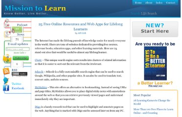 http://www.missiontolearn.com/2009/06/lifelong-learner-free-resources/