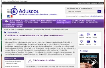 http://eduscol.education.fr/cid57302/conference-internationale-harcelement-cyberviolence.html