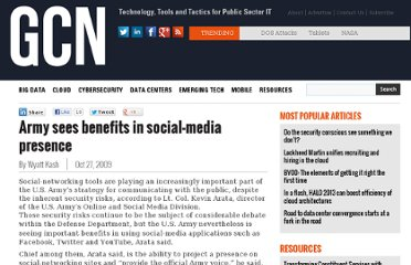 http://gcn.com/articles/2009/10/27/army-see-benefits-in-social-media-presence.aspx
