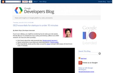 http://googledevelopers.blogspot.com/2012/06/seo-essentials-for-startups-in-under-10.html