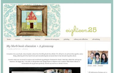 http://eighteen25.blogspot.com/2011/04/my-blurb-book-obsession-giveaway.html