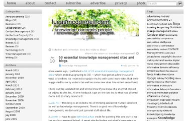 http://lucasmcdonnell.com/essential-knowledge-management-sites-and-blogs/