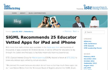http://blog.iste.org/sigml-recommends-25-educator-vetted-apps-ipad-iphone/