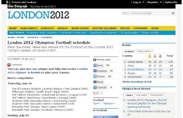 http://www.telegraph.co.uk/sport/olympics/football/9224415/London-2012-Olympics-Football-schedule.html